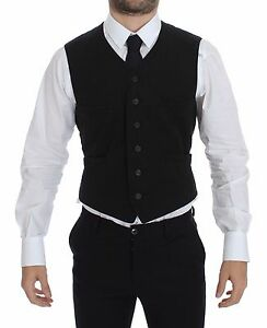 DOLCE & GABBANA Black Flax Cotton Dress Vest Blazer s. IT46/ US36 / S RRP $420