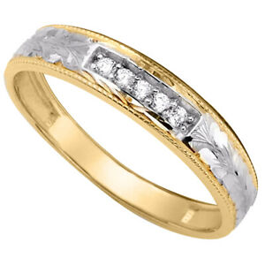 14k Two Tone Gold Cubic Zirconia 3-mm Ladies Wedding Band