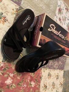 Skechers Black Slides, Size 8.5W, Women's