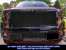 Fits 2009-2014 Ford F-150 Reg Model Solid Black Billet Grill Insert Combo