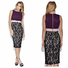 LITTLE MISTRESS PLUS SIZE 24 SIMPLY PURPLE CHIFFON BODICE LACE SKIRT DRESS £58