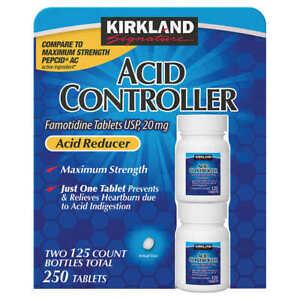 Acid Controller Kirkland Famotidine 20mg 125-250 tablets Generic Pepcid AC