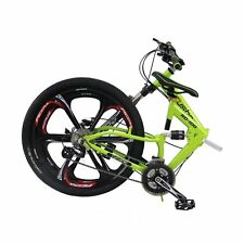 "26"" Folding Mountain Bike 21 Speed Bicycle Shimano Suspension Sports yellow"