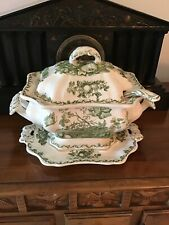 4 Piece Antique MASONS Fruit Basket Platter, Tureen, Lid & Laddle Dark Green