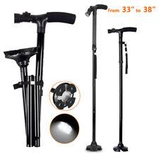 Adjustable Magic Cane Folding LED Walking Stick 4 Head Pivoting Trusty Base