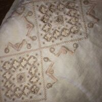 """Vintage Ivory Linen Embroidered Cutwork Tablecloth Banquet Length 64"""" by103"""" EUC"""