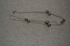VINTAGE NECKLACE SILVER LONG BEADS CYLINDERS ETRUSCAN STYLE 1980S EUC