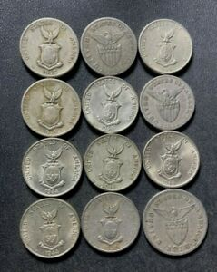Old Philippines Coin Lot - 1918-1945 - 5 CENTAVOS - 12 Vintage Coins - Lot #A11