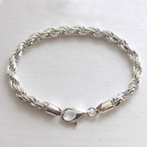6mm Italian Sterling Silver Diamond Cut Rope Bracelet - 7.5 inch