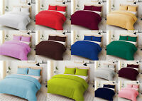 Duvet/Quilt Cover Set Plain Dyed Poly-Cotton Easy Care Bed Set with Pillow Case
