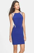 New Hailey By Adrianna Papell Illusion Cutout Body-Con Dress Size 10 Blue