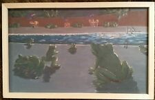 INTRIGUING, BIZARRE, CURIOUS POP ART PAINTING, FROGS BY SWIMMING POOL CRAIG 1996