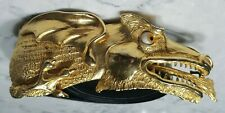 Vintage 1980 Christopher Ross Designer Gold Dragon Leather Belt Buckle Glass Eye