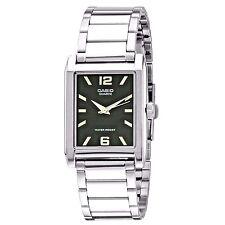 Casio MTP1235D-1A Men's Enticer Stainless Steel Rectangular Black Dial Watch