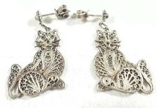 """VINTAGE 925 STERLING SILVER INTRICATE FILIGREE KITTY CATS 1.5"""" POST EARRINGS"""