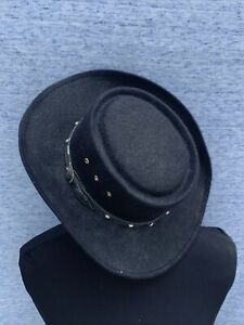 Vintage Western Express Gambler Cowboy Hat Black Flat Top Sz 6 1/4 50 ❤️sj17j17