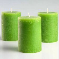 """Set of 3 Green Pillar Candles 3"""" x 4"""" Rustic Unscented Fragrance-Free Decor"""