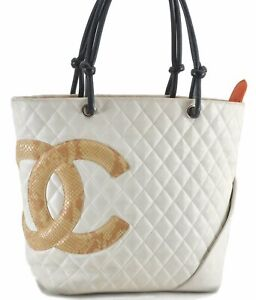 CHANEL Cambon Line Calf Skin Python Motif Quilted CC Logo Tote Bag White C6562