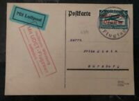 1925 Heilbronn Germany Airmail Postcard Cover Ernst Udet Flight To Wurzburg