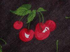 "RETRO RED CHERRY FRUIT BLACK QUILT SEW CRAFT DECOR COTTON BLEND FABRIC 60"" BTHY#"