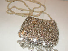 SMALL SEQUIN PURSE FRINGE EVENING BAG SILVER FRINGE FORMAL AFFAIR PROM NEW