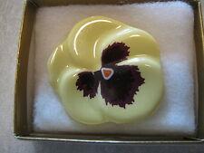 Vintage Avon Pansy Easter Pin Ceramic Yellow Flower W Original Box
