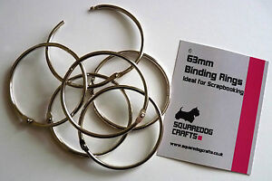 63mm METAL BINDING RINGS 6 PK - IDEAL FOR BINDING AND SCRAPBOOKING