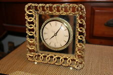 Antique Sessions Table Shelf Clock Enclosed In Gold Ormolu Rose Flower Frame