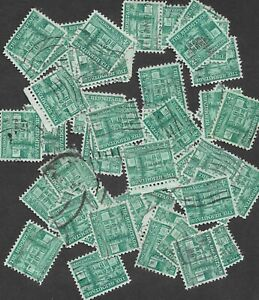 Postage Stamps For Crafting: 1950s 4½c Hermitage, Nashville TN; Green; 50 Pieces