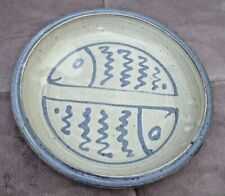 """Painted POTTERY FISH PIE PLATE Baking Dish SIGNED Blue Gray 10 1/4"""" Lake Beach"""