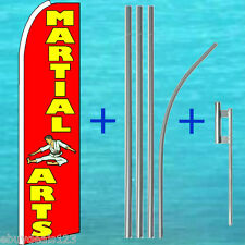 Martial Arts Feather Flutter Flag + 15' Pole + Mount Swooper Bow Banner Sign