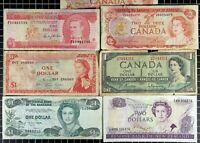 Canada New Zealand Bahamas Barbados Bank Note lot of 7 World Currency QE2