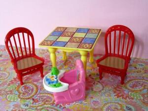 LOVING FAMILY Twin Time Dollhouse Grand Mansion KITCHEN TABLE & BABY HIGH CHAIR