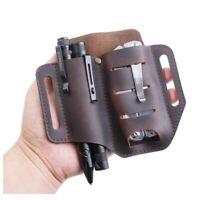 EDC Leather Multitool Sheath for Belt Pocket Organizer with Flashlight Holder