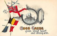 POSTCARD   MILITARY  PATRIOTIC    GOOD  CAUSE  gives stout heart...