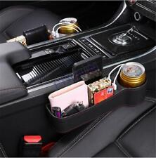 2x Car Truck Seat Gap Storage Box Crevice Organizer Pocket Dual USB Cup Holder