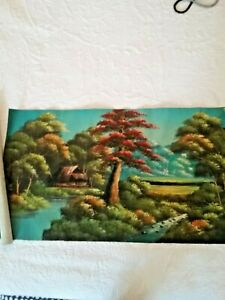 "Vintage Indonesian Oil Painting on vintage flour sack 18""x 32"" unframed"