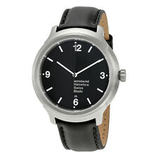 Mondaine Helvetica No1 Bold Black Dial Black Leather Mens Watch MH1.B1220.LB