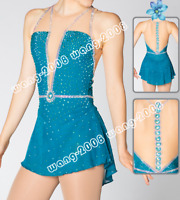 Competition Figure Skating Dress /Baton Twirling Costume blue sparkle  Y182
