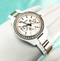 Fossil Stella Multifunction White Band Pink Dial Womens Crystal Face ES-2803 EUC