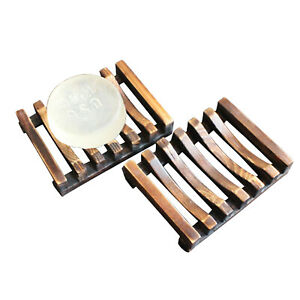 Natural Wooden Soap Dish Tray Holder Storage Soap Rack Plate Box Storage