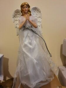 30cm Traditional Silver Angel  Christmas Tree Topper Ornament Decoration