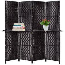 Folding 4 Panel Room Divider Removable Display Shelves Woven Paper Screen Black