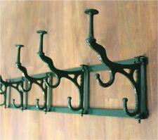 Big Swivel Hook Rack in Iron Wall Mount French Paris Bakery Rack Painted Green