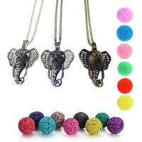 3PC Elephant Diffuser Locket Pendant Aromatherapy Essential Oil Perfume Necklace