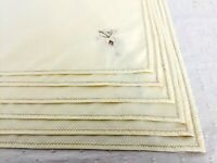 Vintage Ecru Cotton Napkins with Yellow & Orange Embroidered Flower Set of 6