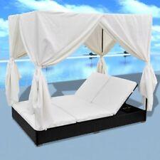 Verstellbar Doppelliege Relaxliege Garten +Vorhängen Kissen Polyrattan Schwarz