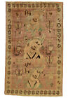 Vintage Tribal Oriental Qashqai Rug, 3'x5', Rose/Ivory, Hand-Knotted Wool Pile