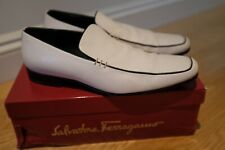 Salvatore Ferragamo Men's White Leather Shoes Loafers Adriano UK Size 8 Used