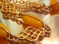 Vintage 1980's Two Strand Ornate Details Yellow Lucite Gold Tone Necklace 722AG9